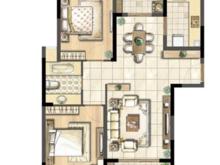 蓝湖湾别墅2室2厅1卫户型图